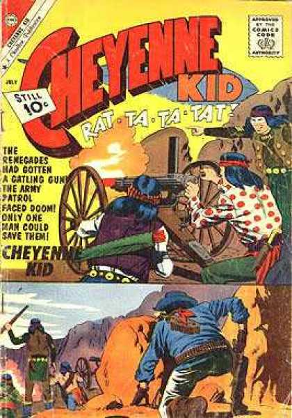 Cheyenne Kid 29 - Approved By The Comics Code - Man - Machine Gun - Cowboy - Indian