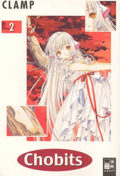 Chobits 2 - Clamp - Girl With White Hair - White Ribon With Pink Inside - White Dress With Red Waist Tie - Tree Branch