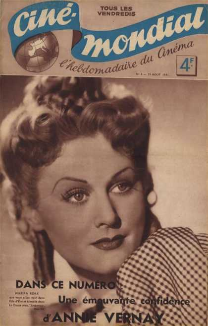Cine-Mondial 4 - Woman - Pouted Lips - Curve Eyelashes - Curly Hair - Polka Dots