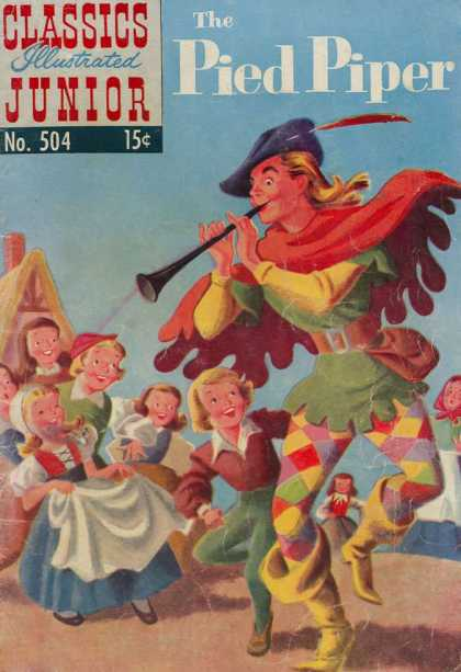 Classics Illustrated Junior - The Pied Piper - Pied Piper - Happy Children - Long Hair - Feather - Checkered Tights