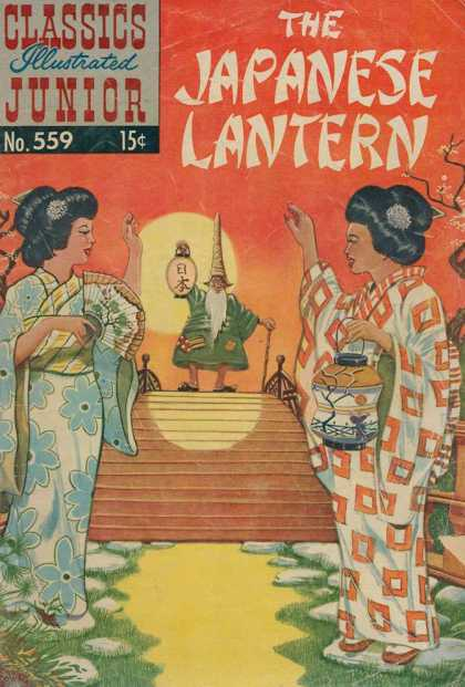 Classics Illustrated Junior - The Japanese Lantern - Story - Japanese - Lantern - Two Women - Waving