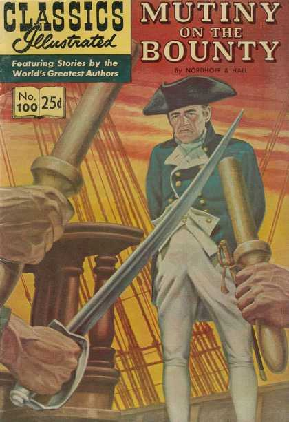 Classics Illustrated - Mutiny on the Bounty - Sword - White Pants - Golden Sky - Hand - Black Hat