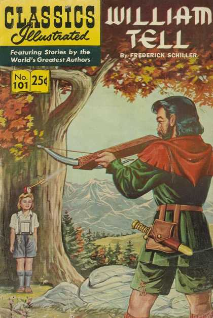 Classics Illustrated - William Tell - Apple - Cross Bow - Mountain Scenery - Tree - Autumn