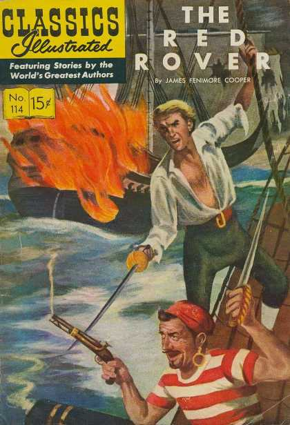 Classics Illustrated - The Red Rover - The Red Rover - James Fenimore Cooper - No 114 - Realistic Artwork - Pirates
