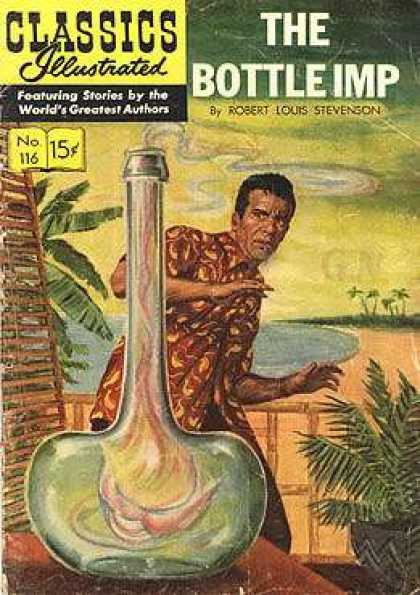Classics Illustrated - The Bottle Imp - Bottle - Driking Man - Sea - Home - A Man See A Somthing
