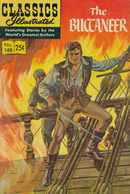 Classics Illustrated - The Buccaneer - The Buccaneer - Pirate - Fire - Boat - Rope