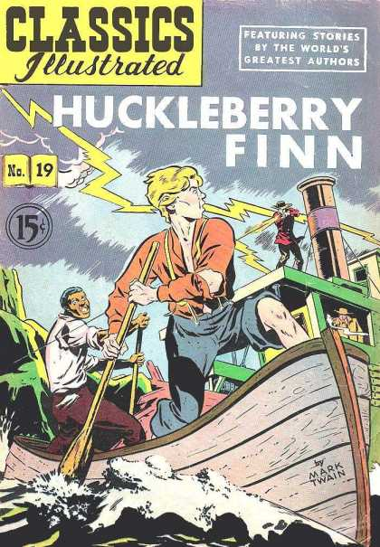 Classics Illustrated - Huckleberry Finn - Huckleberry Finn - Lightning Bolt - Boat - Mark Twain - 15 Cents