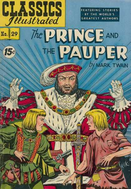 Classics Illustrated - The Prince and the Pauper - The Prince And The Pauper - Mark Twain - King - Sword - Daggers