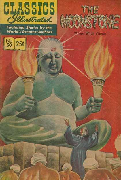 Classics Illustrated - The Moonstone - William Wilkie Collins - The Moonstone - No 30 - Buddha - Torches