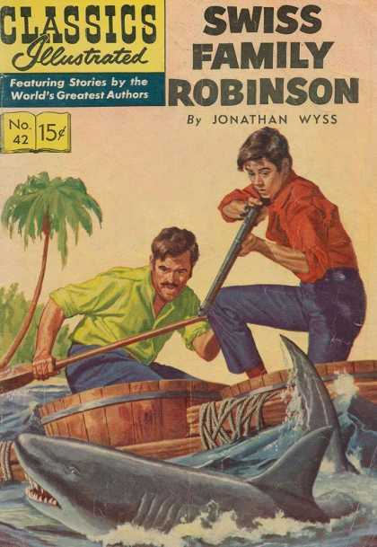 Classics Illustrated - Swiss Family Robinson - Jonathan Wyss - Swiss Family Robinson - Stories By The Worlds Greatest Authors - Palm Tree - Shark
