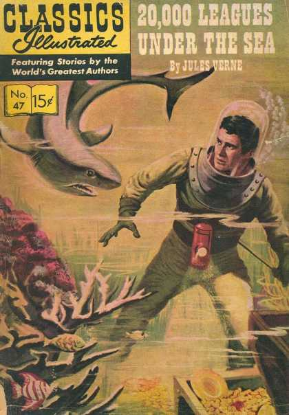 Classics Illustrated - 20,000 Leagues Under the Sea - Shark - Classics Illustrated - Jules Verne - 20000 Leadgues Under The Sea - Treasure Chest