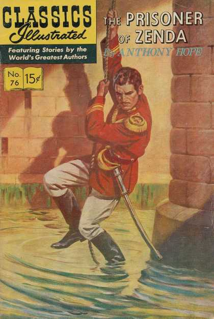 Classics Illustrated - The Prisoner of Zenda - Prison - Man - Sword - Water - Book