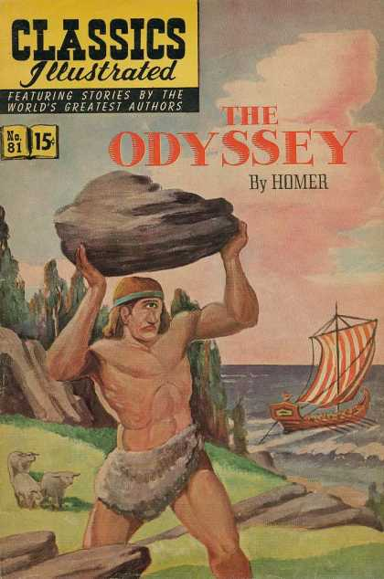 Classics Illustrated - The Odyssey - Boulder - Cyclops - Viking Ship - Animals - Water
