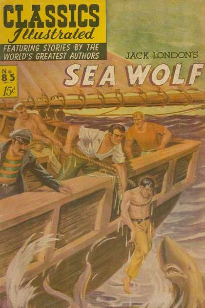 Classics Illustrated - Sea Wolf - Boat - Sharks - Ocean - Jack London - Rope