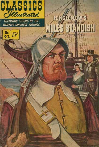 Classics Illustrated - Longfellow's Miles Standish - Long Fellows - Miles Standish - Worlds Greatest Authors - Ship - Sea
