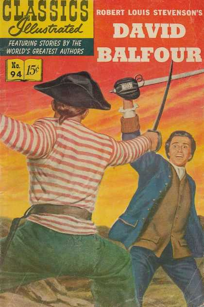 Classics Illustrated - David Balfour - Swords - Dueling - Pirates - Stripped Shirt - Ponytail
