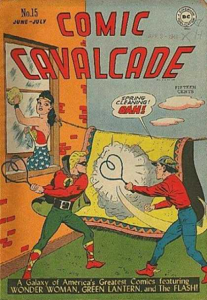 Comic Cavalcade 15 - Wonder Woman - Green Lantern - Flash - Spring Cleaning - Beating A Rug