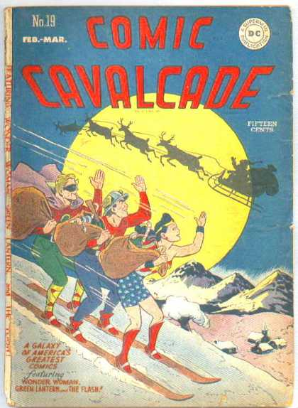 Comic Cavalcade 19 - Moon - Santa - Raindeer - Superfriends - Waving