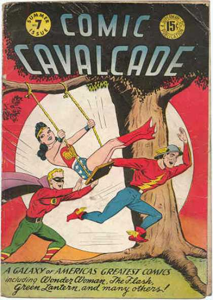 Comic Cavalcade 7 - Summer Issue - 15 Cents - Superhero - Wonder Woman - Swing
