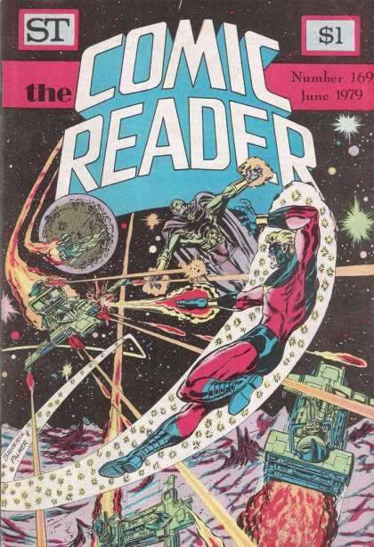 Comic Reader 169 - Moon - Spaceship - Stars - Lasers - Red Suit