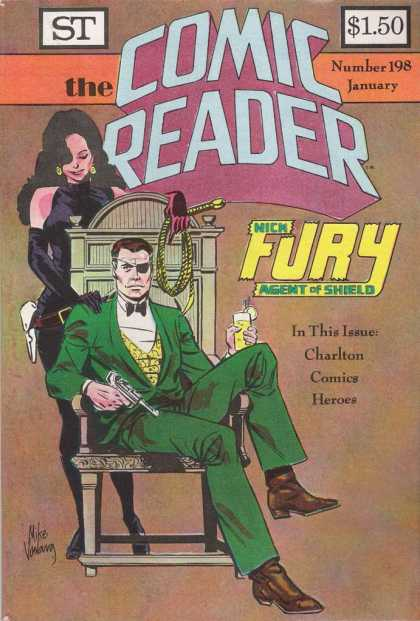 Comic Reader 198 - Green Suit - Nick Fury Agent Of Shield - Whip - Gun - Eyepatch