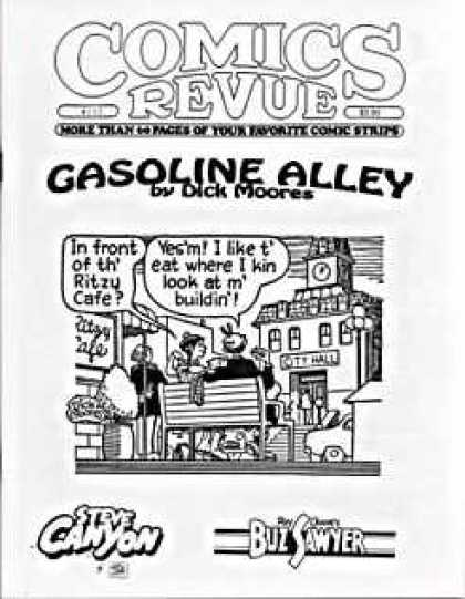Comics Revue 132 - Gasoline Alley - Dick Moores - In Front Of Th Ritzy Cafe - Steve Canyon - Buzsawyer