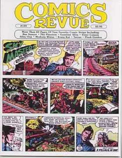 Comics Revue 159 - Sky Masters - Comic Strip On Front Cover - Man Driving On Front - Revue Of Comic Books - Van On Front
