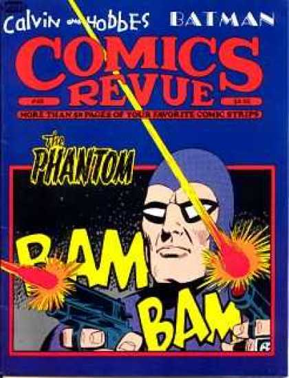 Comics Revue 48 - Man Pointing Gun - Laser Guns - The Phantom - Shooting Lasers At Night - Glasses And Purple Uniform