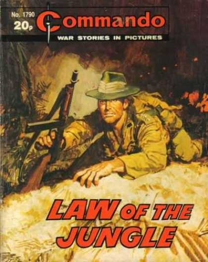 Commando 1790 - Gun - War Stories In Pictures - Fire - Law Of The Jungle - Hat