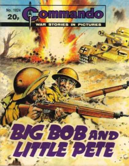 Commando 1824 - War Stories In Pictures - Tank - Guns - Explosion - Bib Bob And Little Pete