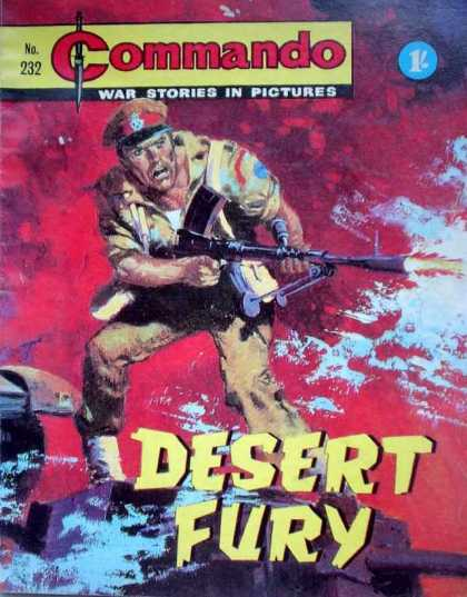 Commando 232 - War Stories In Pictures - Desert Fury - Gun - Fire - Hat