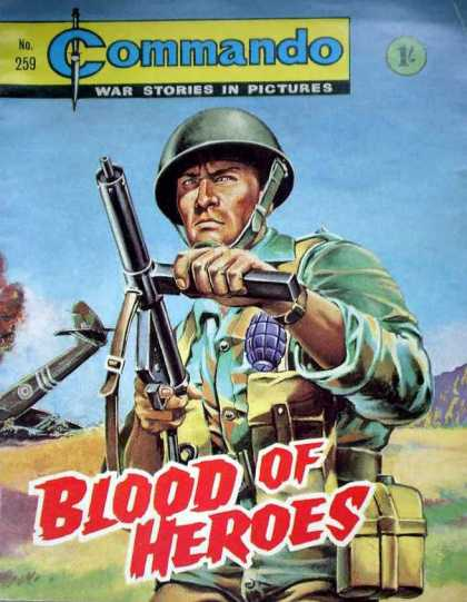 Commando 259 - Gun - War Stories In Pictures - No259 - Blood Of Heroes - Cap