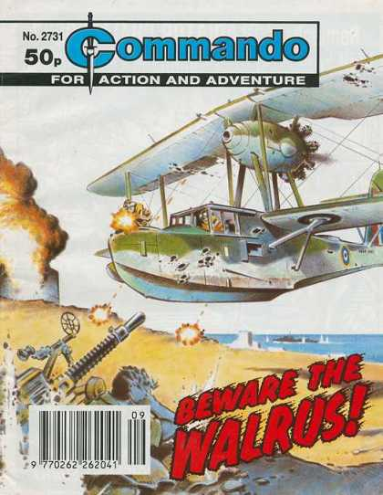 Commando 2731 - Bi-plane - Beware The Walrus - Beach - Explosion - Anti-aircraft Gun