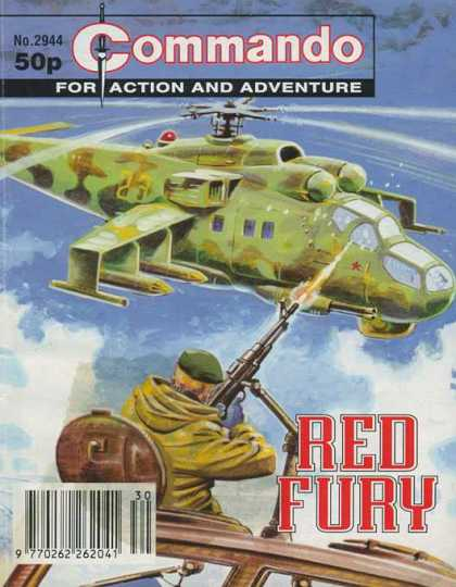 Commando 2944 - For Action And Adventure - Helicopter - Soldier - Machinegun - Red Fury