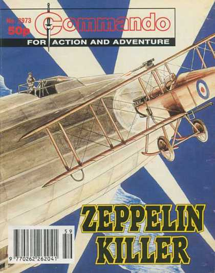Commando 2973 - For Action And Adventure - Plane - Zeppelin - Pilot - Clauds