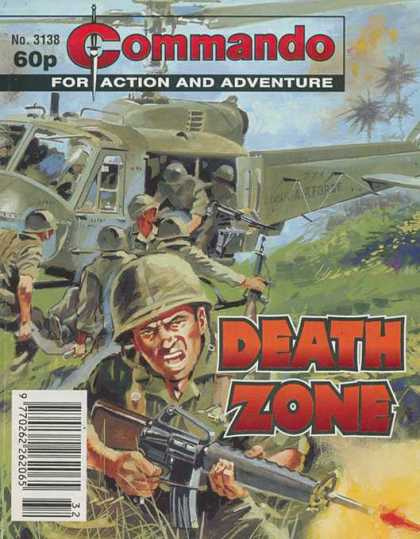 Commando 3138 - No 3138 - For Action And Adventure - Death Zone - Soldiers - Helicopter