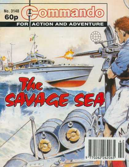 Commando 3148 - For Action And Adventure - Boat - The Savage Sea - Michinegun - Man