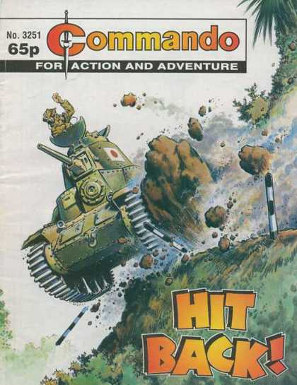 Commando 3251 - No 3251 - 65p - Hit Back - Tank - Explosion