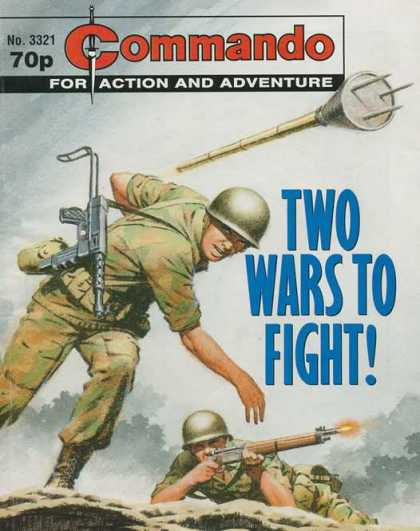 Commando 3321 - No 3321 70p - For Action And Adventure - Two Wars To Fight - Guns - Soldiers