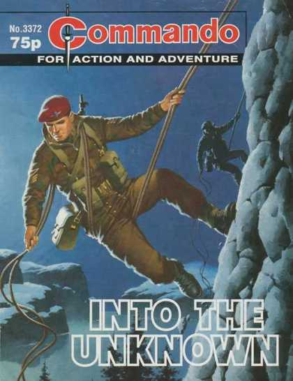 Commando 3372 - Red Beret - Rapelling - Into The Unkown - Camoflauge - Mountains