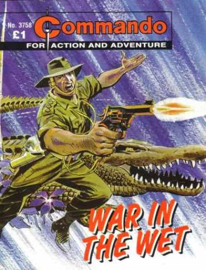 Commando 3758 - For Action And Adventure - War In The Wet - Alligator - Gun - Green Hat