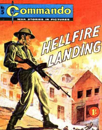 Commando 5 - War Stories In Pictures - Soldier - Hellfire Landing - Machinegun - House