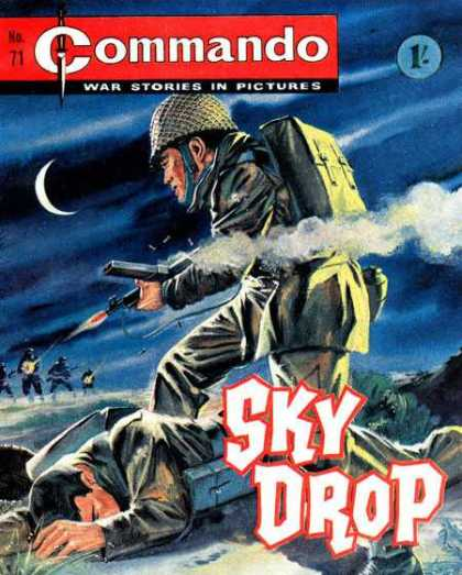 Commando 71 - War Stories In Pictures - Issue Number 71 - Sky Drop - Soldier Shooting A Gun - Dark Sky In Background