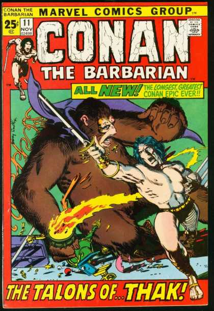 Conan the Barbarian 11 - Marvel Comics Group - Approved By The Comics Code - Sword - Gorilla - All New - Barry Windsor-Smith