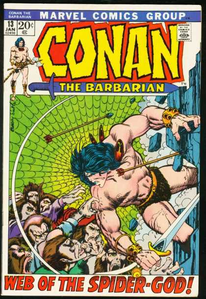 Conan the Barbarian 13 - Web Of The Spider-god - Marvel Comics Group - Arrow - Apes - Sword - Barry Windsor-Smith