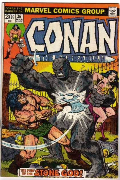 Conan the Barbarian 36 - Marvel Comics Group - The Fury Of The Stone God - Double Battleax - Woman Warrior Captured - Fence