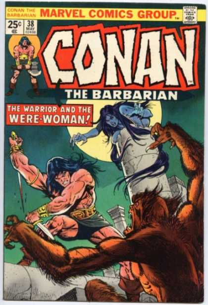 Conan the Barbarian 38 - Werewolf - Sword - Were-woman - Fighting - Pillars