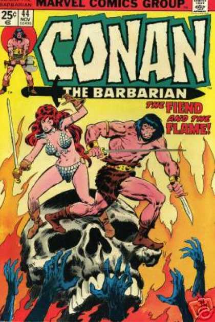 Conan the Barbarian 44 - 5 Blue Hands - Skull - Skull Teeth - Standing On Skull - Flames
