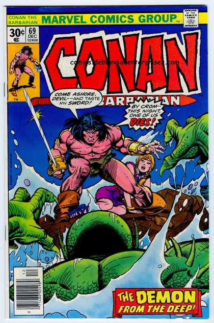 Conan the Barbarian 69 - Sword - Marvel Comics - 30 Cents - Speech Bubble - Weapon