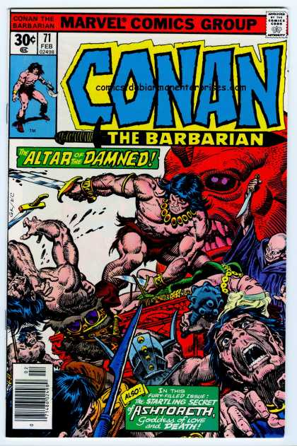 Conan the Barbarian 71 - Red Demon - Gold Necklace - Horned Helmet - Bald Guy - Dead Girl With Necklace - Ernie Chan